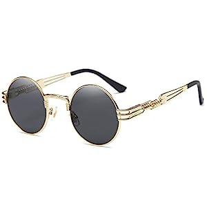 2cd1d75136e  23 Dollger John Lennon Round Sunglasses Black Steampunk Glasses Gold Metal  Frame Mirror Lens Sunglasses