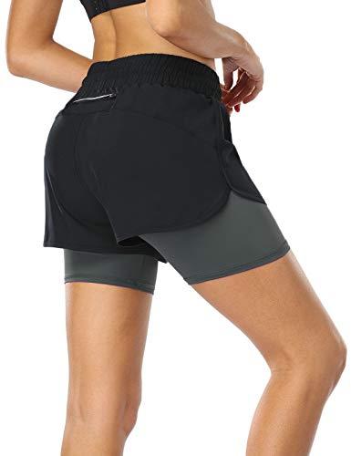 MOVE BEYOND Pantalón Corto de Running 2 en 1 para Mujer con Bolsillo con Cremallera Cordón Fitness Maratón Yoga Shorts, Negro y Gris Claro, XL