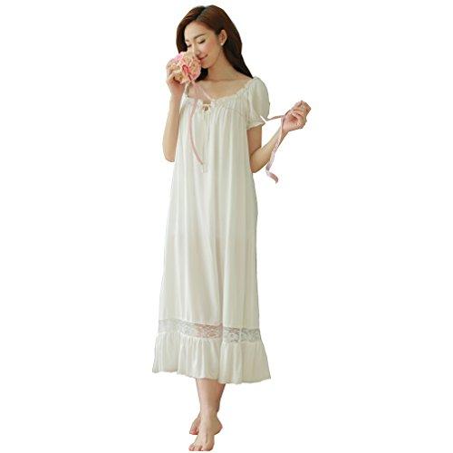 QLX Damen Kleid Nachthemd Schlafanzüge Nachtwäsche/ Damen Nachthemd Baumwolle Negligees Kurzarm Dessous Baumwolle Reine, M, Weiß