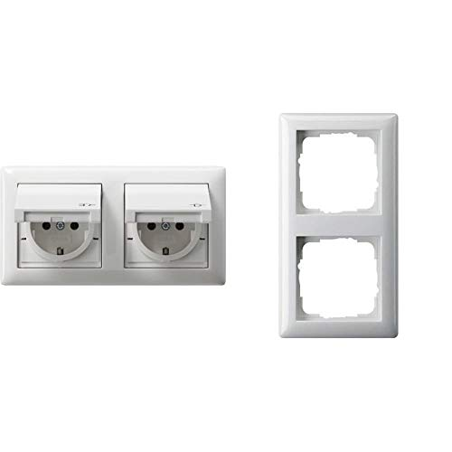 Gira Steckdose SCHUKO 115803 Rahmen 2fach IP44 Standard 55 rw, Weiß & Rahmen 021203 2fach Standard 55 reinweiss