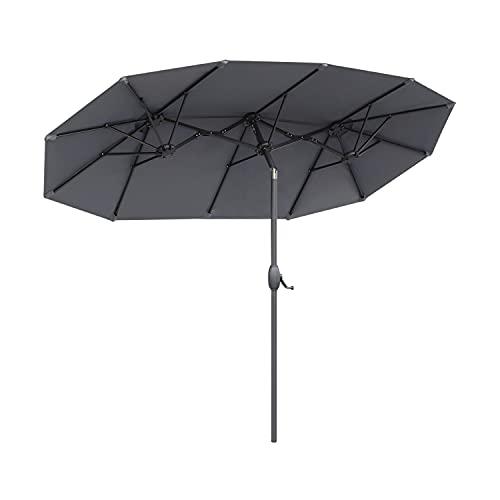 Sekey® 150 × 300 cm Aluminium Doppelsonnenschirm Marktschirm Gartenschirm Terrassenschirm Sonnenschutz UV50+ Grau