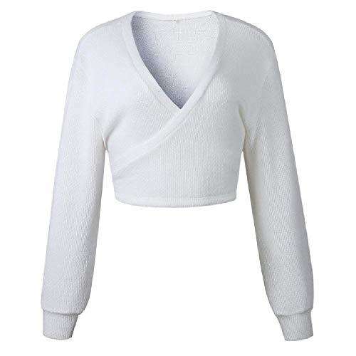Herfst en Winter Truien Tops Losse Slanke Trui Pullover 2019 Casual Effen Mode Wit Lange Mouw V-hals Vrouwen Kleding