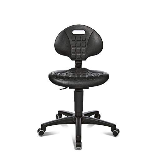 Topstar Industrie-Drehstuhl mit Rollen, Sitz und Rücken aus PU, Sitzhöhe 420-550 mm, Sitzbreite 460 mm, Sitztiefe 420 mm