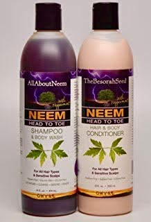 Neem Oil Neem Bark Peppermint Herbal Essentials Shampoo & Conditioner Set Head to Toe Total Body Cleansing System Gifted Wrapped