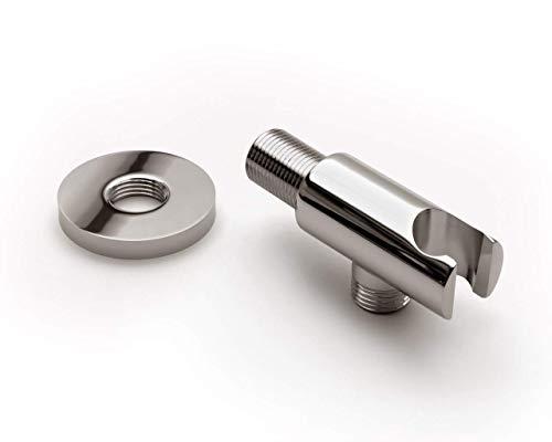 Hochwertiger Wandanschlussbogen mit Brausehalter für Duschsysteme Vollmetall chrom glänzend