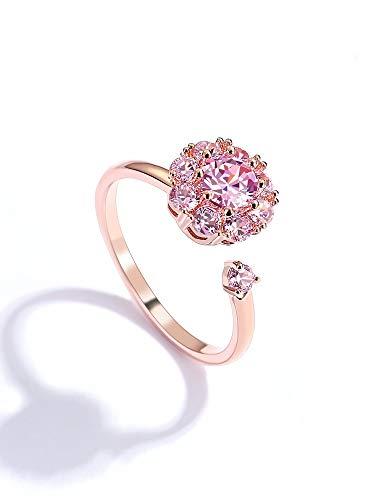 Anillo de boda rosa para mujer, anillo giratorio con...