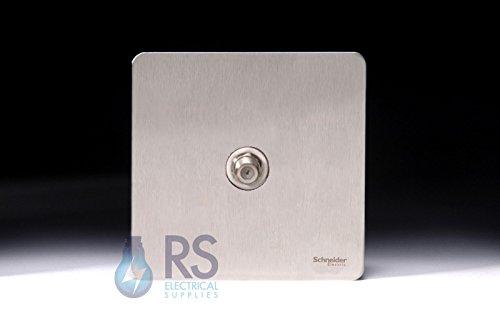 Schneider - Placa plana de acero inoxidable sin tornillos para satélite, color blanco