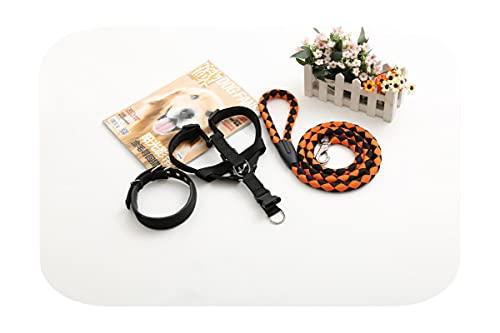 Correa para mascotas Collar de tracción Arnés de cadena de perro Correa para el pecho de perro mediano pequeño tejido de cuerda para mascotas Pitbull Yorkshire Terrier-naranja negro-S
