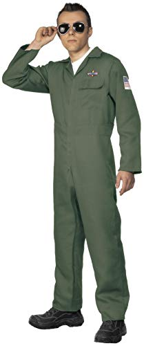Smiffy's Smiffys-28623XL Disfraz de Aviador, con Enterizo de Cremallera, Color Verde, XL-Tamaño 46