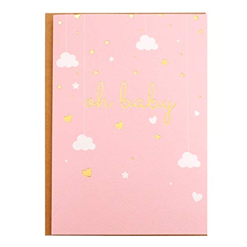 """Baby Shower Card - Single Pink Greeting Cards 5"""" x 7"""" with Kraft Envelope - Gold Foil Printing""""Oh Baby!"""" for Congratulations Baby Shower for Newborn Baby Girl - Blank Inside"""