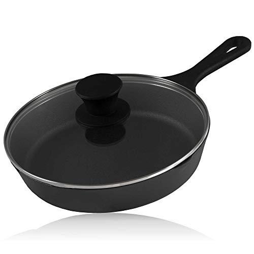 BBQ-Toro Gusseisen Grillpfanne mit Glasdeckel (Ø 19 cm) | Gusseisenpfanne, Grillbratpfanne, Bratpfanne mit Deckel, Steakpfanne