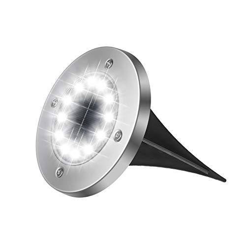 flintronic Luci Solari Giardino, 12 Led Faretto Incasso Luce Calda Energia, Solare Wireless Terra Lampade da Sicurezza 600Mah Batteria per Vialetto Scala Paesaggio Strade Aiuola
