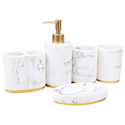 Dciustfhe Juego de accesorios de baño de 5 piezas, conjunto de baño, colección de jabón, dispensador de jabón con diseño de mármol, soporte para cepillos de dientes, cuenco para jabón