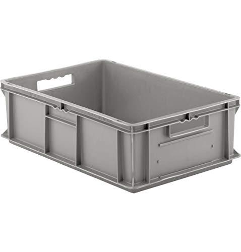 SSI Schäfer EF 6180 Eurokiste Kunststoffbox Transportbox offen ohne Deckel, 600x400 mm, 35,4 l, 20 Kg Tragkraft, Made in Germany, Grau
