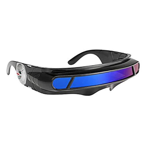 Yi-xir diseño Clasico Futuristas Gafas de Sol espejadas Minute Lente Envolver Visor Robot Disfraz Wrap Wrap Gafas Moda (Color : Blue)