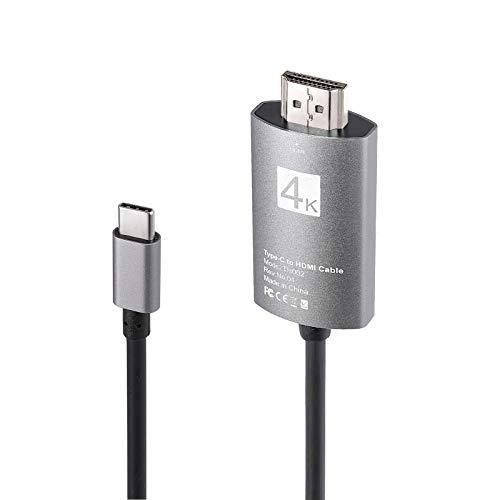 CAMWAY Adaptador USB C a HDMI 4K cable, USB tipo C a HDMI TV HDTV Cable adaptador para iPad Pro/MacBook Pro/Samsung/Dell XPS/Pixelbook, etc
