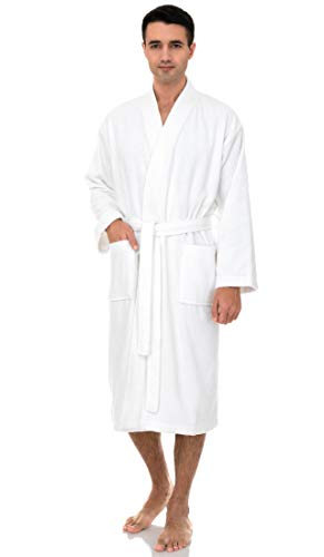 TowelSelections Turkish Terry Kimono Bathrobe - 100% Turkish Cotton, Terry Cloth Bath Robe for Women and Men, Made in Turkey (White, L/XL)