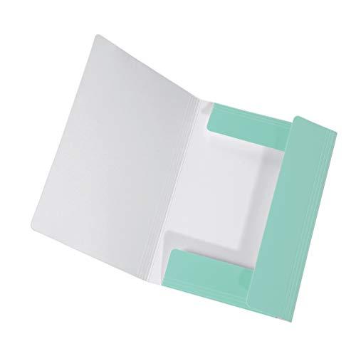 Original Falken Sammelmappe PastellColor. Aus extra starkem Karton mit 3 Klappen und Gummiband für DIN A4 Pastell-Farbe Minz_Grün Aufbewahrungs-Zeichen-Mappe für die Schule