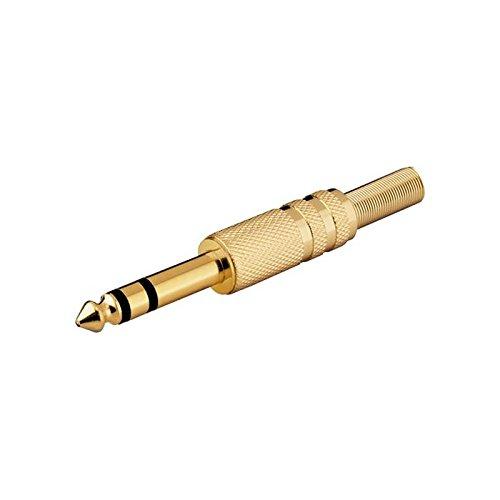 Goobay-Juego de 3conectores audio tipo jack de 6,35mm, estéreo, para soldar, color dorado