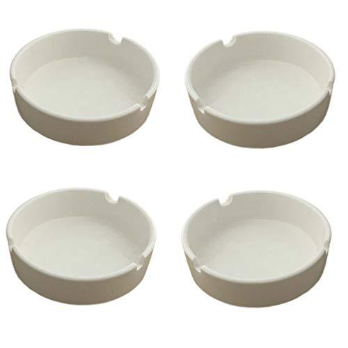 Redondo Cenicero (Porcelana Porcelana Cenicero Cenicero de cristal (con 3estantes en blanco