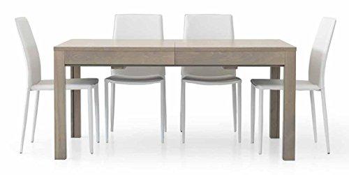 Legno&Design Tavolo Rettangolare Rovere Grigio con 4 allunghe da 43 cm