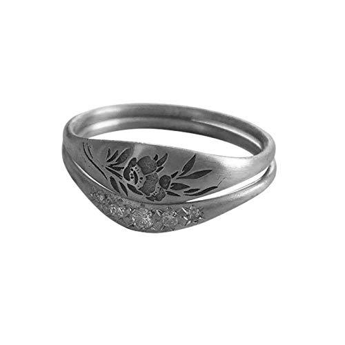 Moent Bonito anillo de flores grabado a mano para mujer, anillo de novia, tamaño 5-11, regalo de aniversario del día de San Valentín