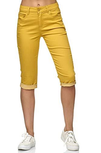 Damen Capri Jeans 3/4 Stretch Bermuda Shorts Big Size Hose, Farben:Gelb, Größe:44