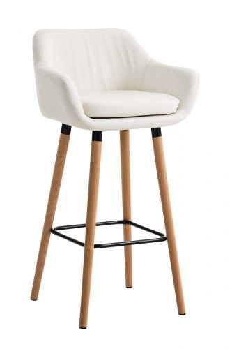 Tabouret de Bar Grant Similicuir - Chaise Haute de Bar Confortable Design Scandinave - Tabouret de Bar Industriel avec Dossier et Accoudoir, Couleur:Blanc