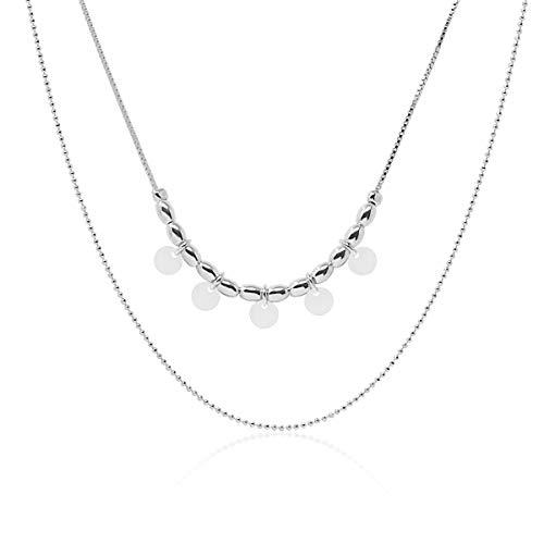 Collar Doble Chapitas para Mujer Joven, Chica Hecho en Plata de Ley 925, Multi Capas, Chapas, Monedas, Placas. En Caja de Regalo.