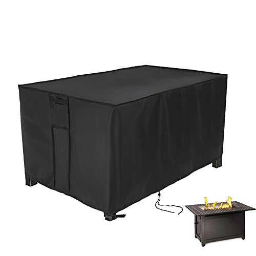 Fenghome Fire Pit Cover Rectangular 113 * 83 * 58cm, Waterproof, Anti-UV, Upgraded Tear-Resistant 420D Oxford Outdoor Gas Fire Pit Table Cover