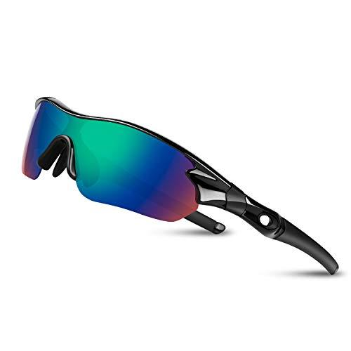 Bea Cool Sportbrille Sonnenbrille Herren, Polarisierte Sport Brille mit UV400 Schutz TAC Sportsonnenbrille PC Rahmen für Radfahren, Laufen, Outdoor-Aktivitäten (Schwarzgrün)