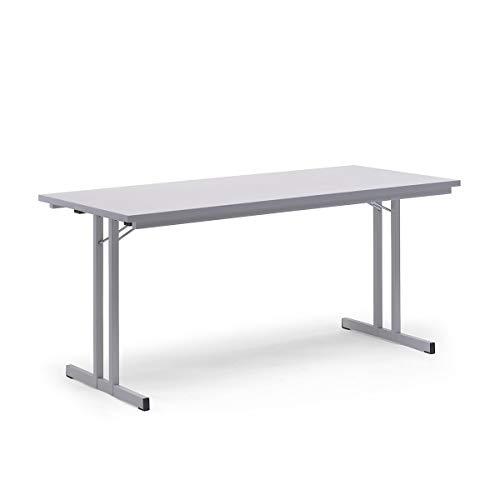 Certeo Klapptisch | HxBxT - 720 x 1600 x 800 mm | Extra starke rechteckige Platte | Gestell und Platte in lichtgrau | Klapptisch Mehrzwecktisch...