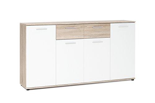 lifestyle4living Kommode, Sideboard, Anrichte, Highboard, Schrank, Flurkommode, Schlafzimmerkommode, weiß, Weiss, Sonoma Eiche, 4-türig, Maße: B/H/T ca. 160/85/35 cm