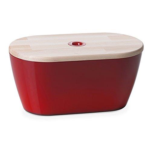 Omada Design Kassette Brotkasten oder Brottopf, Maße 34x19x h17 cm mit 6 Liter Fassungsvermögen und Deckel für Schneidebrett, zum Frischhalten und Platzsparen geeignet
