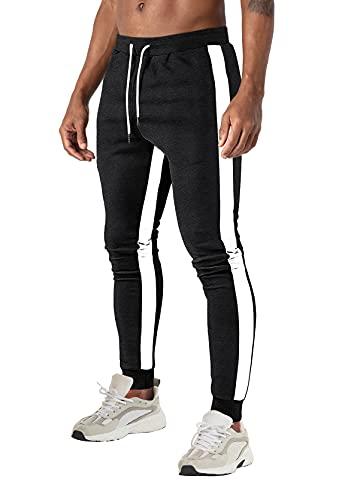 Pantalon de Jogging Hommes Slim Décontractée Bas de Jogging Gym Pantalon d'entraînement Léger Pantalon de survêtement en Coton Pantalon de course Poches Jogger Sport Trousers Cotton Traning Pants Noir