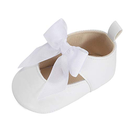 Baby Girls Bowknot Mary Jane Flats Rubber Sole Infant Toddler Walking Shoes Moccasinss Wedding Dress Shoes  White 3-6 Months