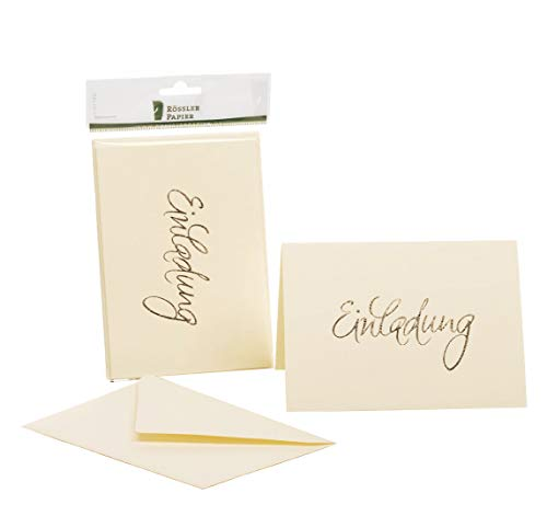 Rössler 1181955008 Kartenpack B6 (120 / 240 x 169 mm), - Einladung - chamois