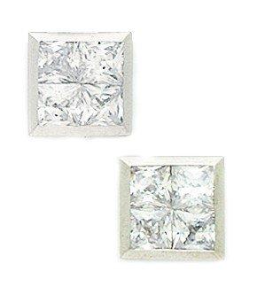 14ct de oro blanco de piedra CZ gran 4 cuadrados pendientes de Post de lujo 10 x 10 mm - medidas - JewelryWeb