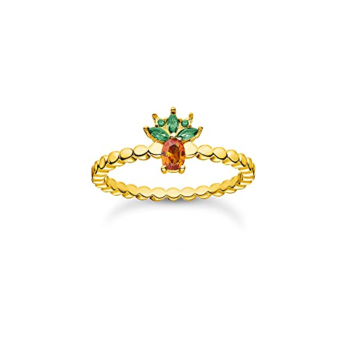 Thomas Sabo Anillo de bolas para mujer con diseño de piña, plata de ley 925, chapado en oro amarillo 750 con circonitas en verde y naranja, talla 52, TR2352-472-7-52