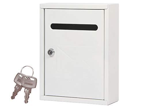 Alsino Briefkasten Postkasten Wandbriefkasten Stahlbriefkasten pulverbeschichtet + 2 Schlüsseln, Befestigungsmaterial inklusive BRK-66011, weiß
