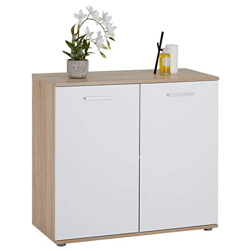 CARO-Möbel Kommode Chicago mit 2 Türen, Moderne Anrichte in Sonoma Eiche/weiß, Sideboard Mehrzweckschrank für Wohnzimmer