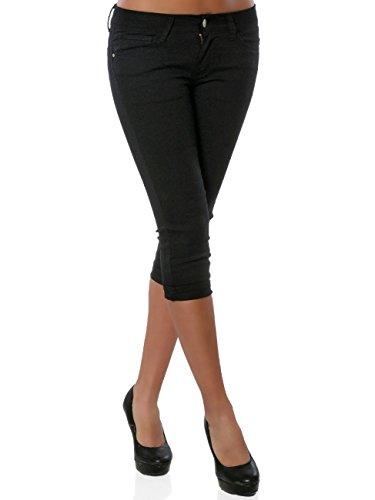 Damen Jeans Kurze Sommer Hose Push-Up Denim Stretch DA 15908 Farbe Schwarz Größe L / 40
