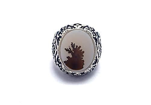 Royal Rings خاتم فضة رجالي يماني مشجر طبيعي، من نوادر العقيق اليماني (عيار: 925 / وزن: 11جرام)