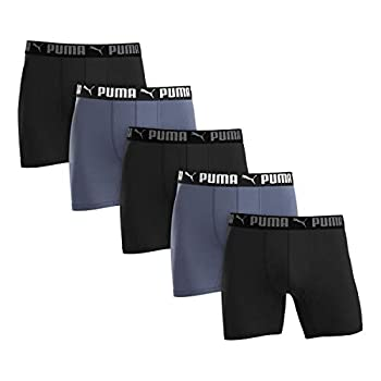 Puma Men s Microfiber Boxer Brief 5-pack  Large Black and Gray