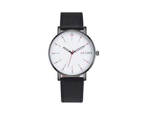 Miniblings Herren Damen Armbanduhr DAU HAU Uhr Zeit Lederband Leder schwarz