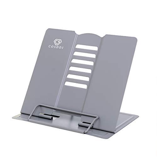 CS COSDDI Leseständer Kochbuchhalter Bücherständer Book Stand für Lesen,Küche und Büro (Grau)