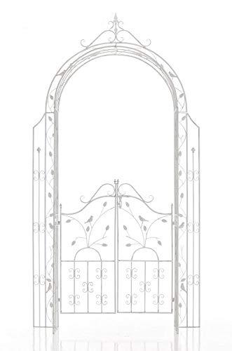 CLP Eisen-Rosenbogen Grenada mit Eingangspforte I Torbogen mit stilvollen Verzierungen I Rankhilfe im Landhausstil I erhältlich Antik Weiß