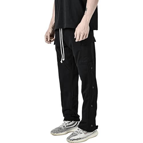 Yikesnt Pantalones Deportivos Informales para Hombre Primavera y otoño Correr al Aire Libre Fitness Pantalones Sueltos versátiles de Moda con Bolsillos y cordón M
