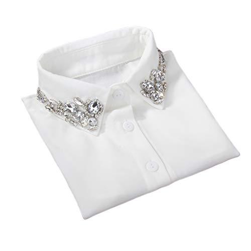 GHBOTTOM Cadena para el cuello, para mujer, gota de agua, de imitación de cristal, de gasa, falsos collares con pedrería, solapa desmontable con botón hacia abajo, blusa de media camisa