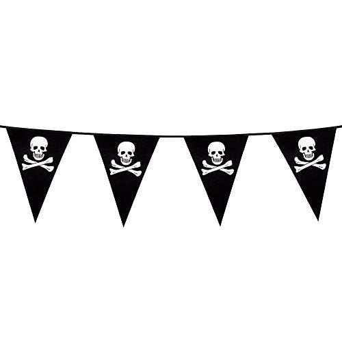 Boland 74160 - Wimpelkette Pirat, Länge 4 m, Freibeuter, Totenkopf, Hängedekoration, Girlande, Geburtstag, Partydekoration, Partygeschirr, Motto Party, Karneval